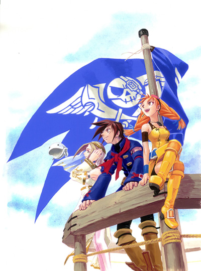 skies arcadia blue rogues flag sega dreamcast vyse aika fina