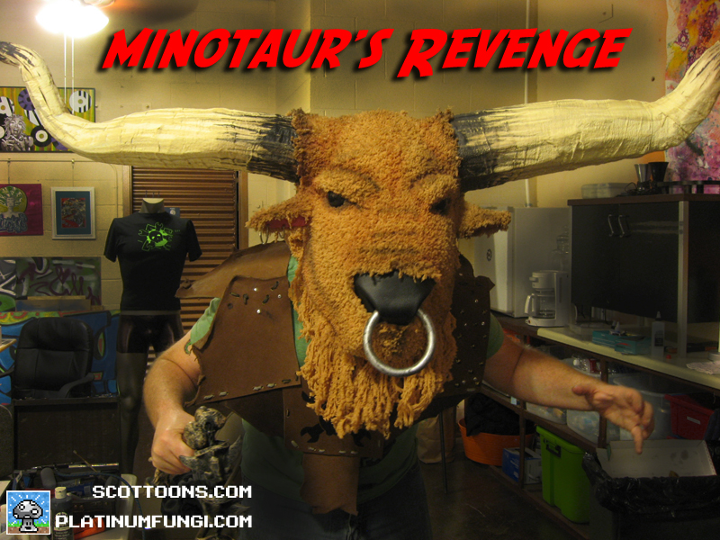 minotaur, costume, world maker faire, cosplay, scottoons, platinumfungi, team, hackaday,