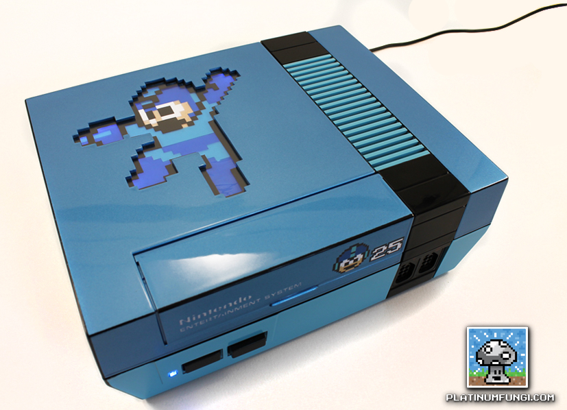 backlit mega man 25th ann anniversary nes nintendo case mod custom platinumfungi platinum fungi capcom blue led