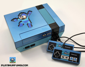 backlit mega man 25th ann anniversary nes nintendo case mod custom controllers platinumfungi platinum fungi capcom blue led