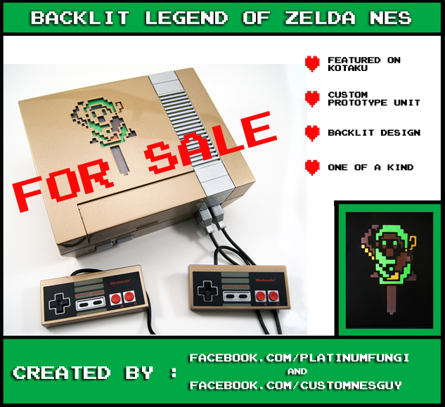 backlit legend zelda nes nintendo anniversary custom gold case mod platinumfungi platinum fungi custom guy