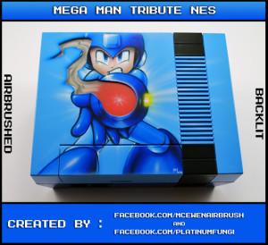 backlit mega man rockman 25th ann anniversary nes nintendo famicom case mod custom platinumfungi platinum fungi mcewen airbrush capcom blue led
