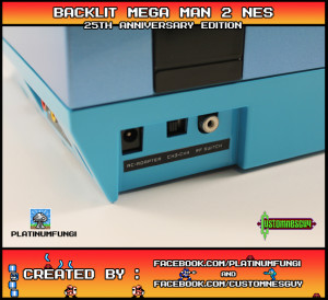 backlit mega man 2 25th ann anniversary nes nintendo case mod custom platinumfungi platinum fungi custom nes guy capcom blue led