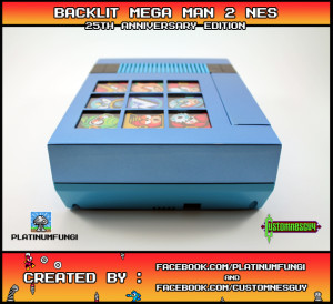 backlit mega man rockman 2 25th ann anniversary nes nintendo case mod custom platinumfungi platinum fungi custom nes guy famicom capcom blue led